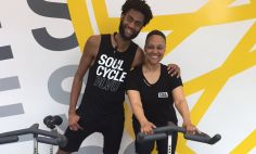 Vikki Owens with her spin instructor.